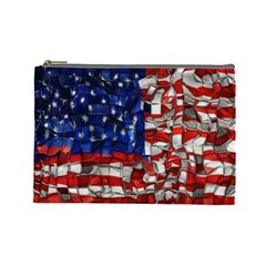 American Flag Blocks Cosmetic Bag (large) by bloomingvinedesign