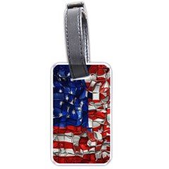 American Flag Blocks Luggage Tag (two Sides) by bloomingvinedesign