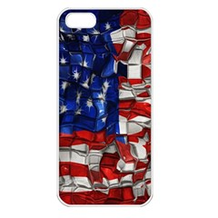 American Flag Blocks Apple Iphone 5 Seamless Case (white) by bloomingvinedesign