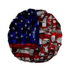 American Flag Blocks 15  Premium Round Cushion  by bloomingvinedesign