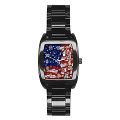 American Flag Blocks Stainless Steel Barrel Watch by bloomingvinedesign