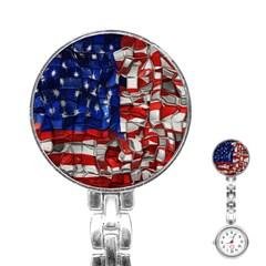 American Flag Blocks Stainless Steel Nurses Watch by bloomingvinedesign