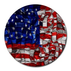 American Flag Blocks 8  Mouse Pad (round) by bloomingvinedesign