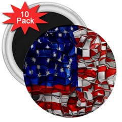 American Flag Blocks 3  Button Magnet (10 Pack) by bloomingvinedesign