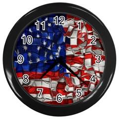 American Flag Blocks Wall Clock (black) by bloomingvinedesign
