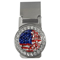 American Flag Blocks Money Clip (CZ) by bloomingvinedesign
