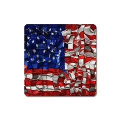 American Flag Blocks Magnet (square) by bloomingvinedesign