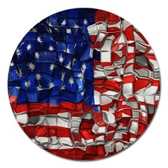 American Flag Blocks Magnet 5  (round) by bloomingvinedesign