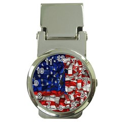 American Flag Blocks Money Clip With Watch by bloomingvinedesign