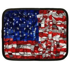 American Flag Blocks Netbook Sleeve (xxl) by bloomingvinedesign