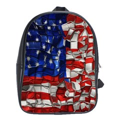 American Flag Blocks School Bag (Large) by bloomingvinedesign