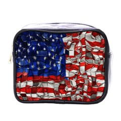 American Flag Blocks Mini Travel Toiletry Bag (one Side) by bloomingvinedesign