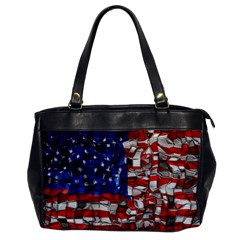 American Flag Blocks Oversize Office Handbag (one Side) by bloomingvinedesign