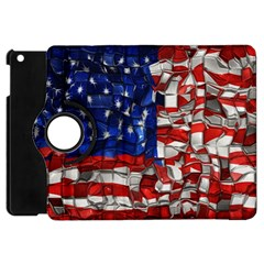American Flag Blocks Apple Ipad Mini Flip 360 Case by bloomingvinedesign