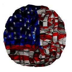 American Flag Blocks 18  Premium Round Cushion  by bloomingvinedesign