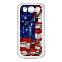 American Flag Blocks Samsung Galaxy S3 Back Case (white) by bloomingvinedesign