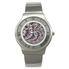 Black Red White Lava Fractal Stainless Steel Watch (slim) by bloomingvinedesign