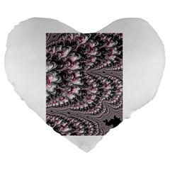 Black Red White Lava Fractal 19  Premium Heart Shape Cushion by bloomingvinedesign