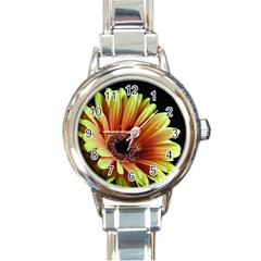 Yellow Orange Gerbera Daisy Round Italian Charm Watch by bloomingvinedesign