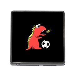 Black Cartoon Dinosaur Soccer Memory Card Reader With Storage (square) by CreaturesStore
