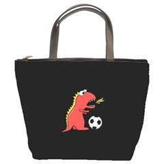 Black Cartoon Dinosaur Soccer Bucket Handbag by CreaturesStore