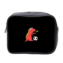 Black Cartoon Dinosaur Soccer Mini Travel Toiletry Bag (two Sides) by CreaturesStore