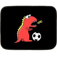 Black Cartoon Dinosaur Soccer Mini Fleece Blanket (two Sided) by CreaturesStore