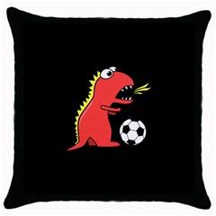 Black Cartoon Dinosaur Soccer Black Throw Pillow Case by CreaturesStore