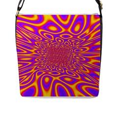 Psycedelic Warp Flap Closure Messenger Bag (large) by SaraThePixelPixie