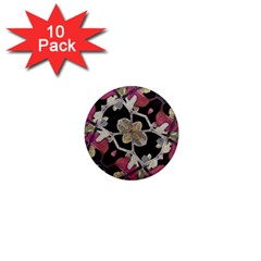 Floral Arabesque Decorative Artwork 1  Mini Button Magnet (10 Pack) by dflcprints