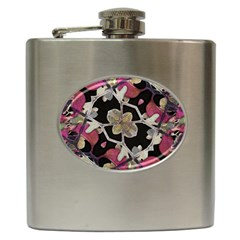 Floral Arabesque Decorative Artwork Hip Flask by dflcprints