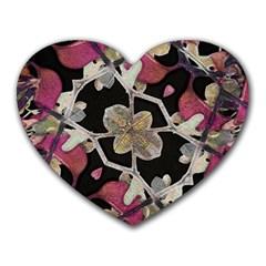 Floral Arabesque Decorative Artwork Mouse Pad (Heart) by dflcprints
