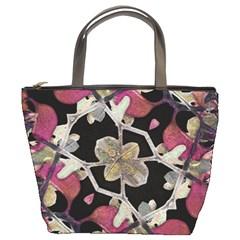 Floral Arabesque Decorative Artwork Bucket Handbag by dflcprints