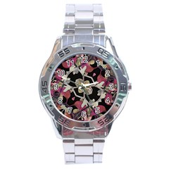 Floral Arabesque Decorative Artwork Stainless Steel Watch by dflcprints