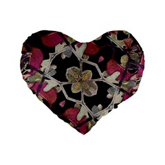 Floral Arabesque Decorative Artwork 16  Premium Heart Shape Cushion  by dflcprints