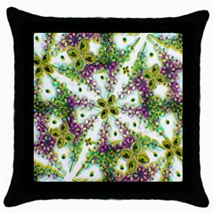 Neo Noveau Style Background Pattern Black Throw Pillow Case by dflcprints