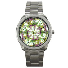 Neo Noveau Style Background Pattern Sport Metal Watch by dflcprints