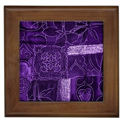 Pretty Purple Patchwork Framed Ceramic Tile by FunWithFibro