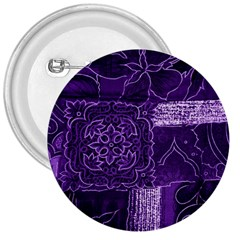 Pretty Purple Patchwork 3  Button by FunWithFibro