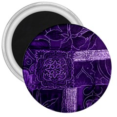 Pretty Purple Patchwork 3  Button Magnet by FunWithFibro