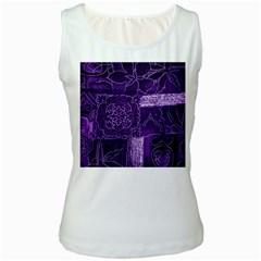 Pretty Purple Patchwork Women s Tank Top (white) by FunWithFibro