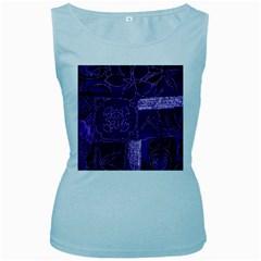 Pretty Purple Patchwork Women s Tank Top (baby Blue) by FunWithFibro