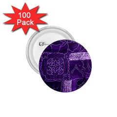 Pretty Purple Patchwork 1 75  Button (100 Pack) by FunWithFibro