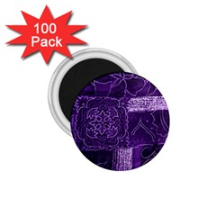 Pretty Purple Patchwork 1 75  Button Magnet (100 Pack) by FunWithFibro