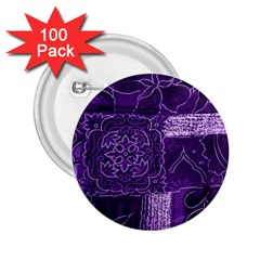 Pretty Purple Patchwork 2 25  Button (100 Pack) by FunWithFibro
