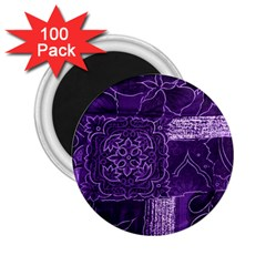Pretty Purple Patchwork 2 25  Button Magnet (100 Pack) by FunWithFibro