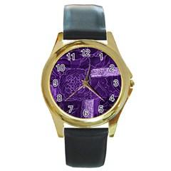 Pretty Purple Patchwork Round Leather Watch (gold Rim)  by FunWithFibro
