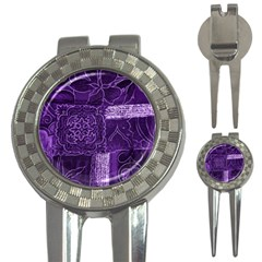 Pretty Purple Patchwork Golf Pitchfork & Ball Marker by FunWithFibro