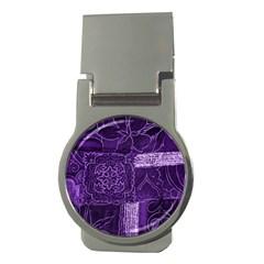 Pretty Purple Patchwork Money Clip (round) by FunWithFibro