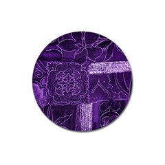 Pretty Purple Patchwork Magnet 3  (round) by FunWithFibro